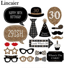 Lincaier 20 Pieces Man Woman style 30 Years Moustache Glass Mask Photo Booth Props 30th Birthday Funny Party Decoration Supplies