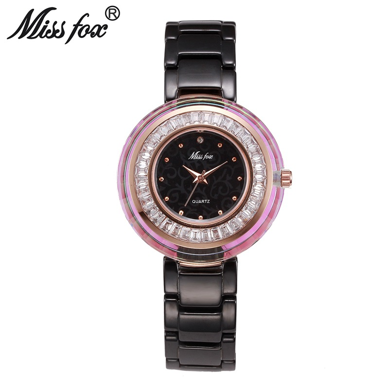 Miss Fox Brand Top Fashion Luxury Super Cool Women Quartz Watch Ladies Crystal Watches Resistant Ceramic Clock Relogio Feminino<br>