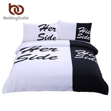 BeddingOutlet Black and White Bedding Set His Side & Her Side Couple Home textiles Soft Duvet Cover with Pillowcases 3Pcs Hot