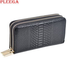 PLEEGA Brand New 100% Genuine Leather Wallets for Womens Serpentine Wristle Clutch Real Leather Long Wallets Female Large Purses