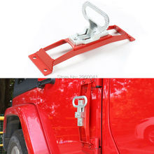 Red Car Foot Rest Pedal Metal Car Door Hinges Foot Rest Pedals Plate Exterior Pedal Board Trim For Jeep Wrangler 2007-2016