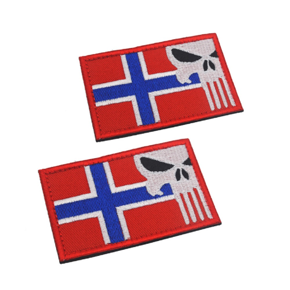 3D Norway Flag Embroidery Patches Magic Stickers Norway Punisher Flag Velcro Patch Cloth Patch