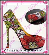 Aidocrystal red and green flower shape high stiletto heel shoes and bag set