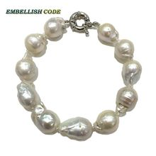 Normal size white color baroque pearls Bracelet tissue nucleated flame ball shape freshwater natural pearls special for lady