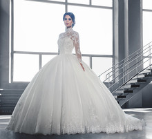 New Elegant Princess Long Ball Gown Wedding Dresses Custom High Collar Lace Tulle Long Sleeves Bridal Gown Vestidos De Noiva