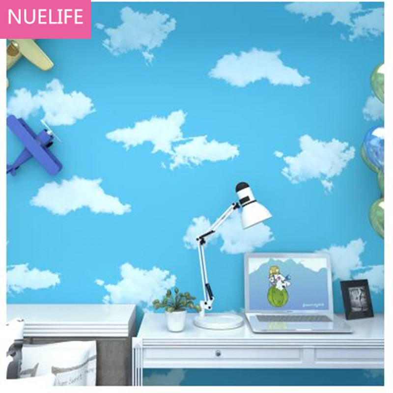 0.53x9.5cm Blue sky and white clouds pattern girl princess girl boy room wallpaper blue  nonwovens wallpaper N2<br>