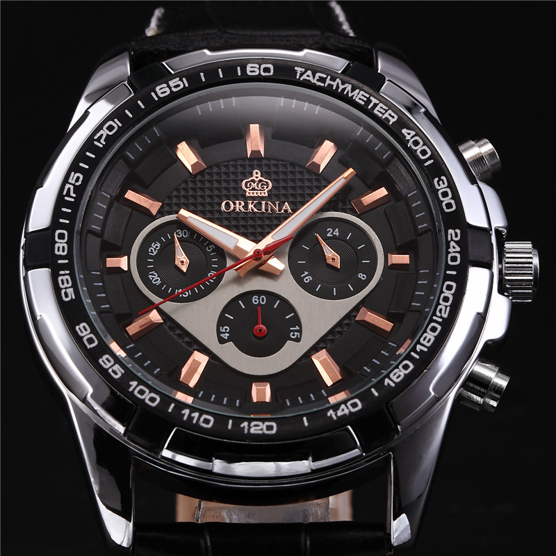MG. ORKINA Male Clock Leather Strap Japan Movement MIYOTA JS20 Relojes Hombre Wrist Watch Chronograph Sport Watch<br>