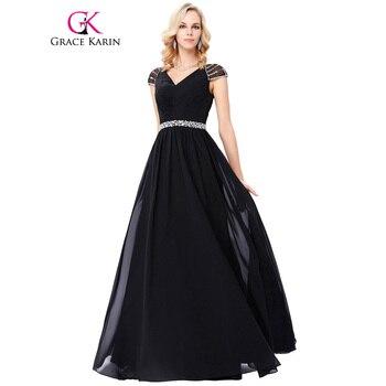 Grace karin negro largo vestido de noche formal más tamaño partido de la gasa de beadings lentejuelas cuello en v profundo banquete de noche vestidos de baile