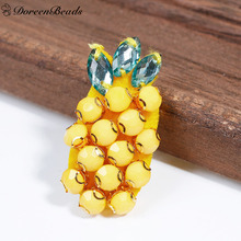 DoreenBeads 1PC Lovely Acrylic Badges Safety Pin Brooches Pineapple Ananas Fruit Yellow Clothes T-shirt Bags Decoration