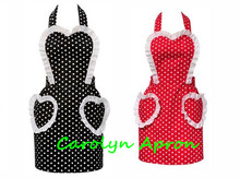 Beautiful Retro Kitchen Apron Woman Polka Dot Fashionable Korean Love Pockets Waitress Salon Avental de Cozinha Divertido