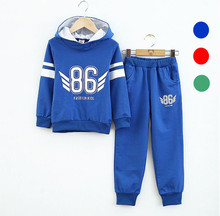 2015 Autumn new boys girls clothing sets cotton children's sports clothing boys hooded jacket+pant suit set Fall kids tracksuit