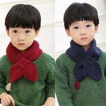 New Fashion Kids Scarf Knitting Pattern Solid Scarves Heart Shape Autumn Winter Knitted Wool Scarves Boys Girls Warm Accessories