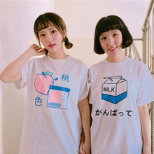 Letter printed cute harajuku women short t-shirt Japan Milk Peach INU INU Kawaii cotton cartoon brand tee shirt top loose tshirt(China)