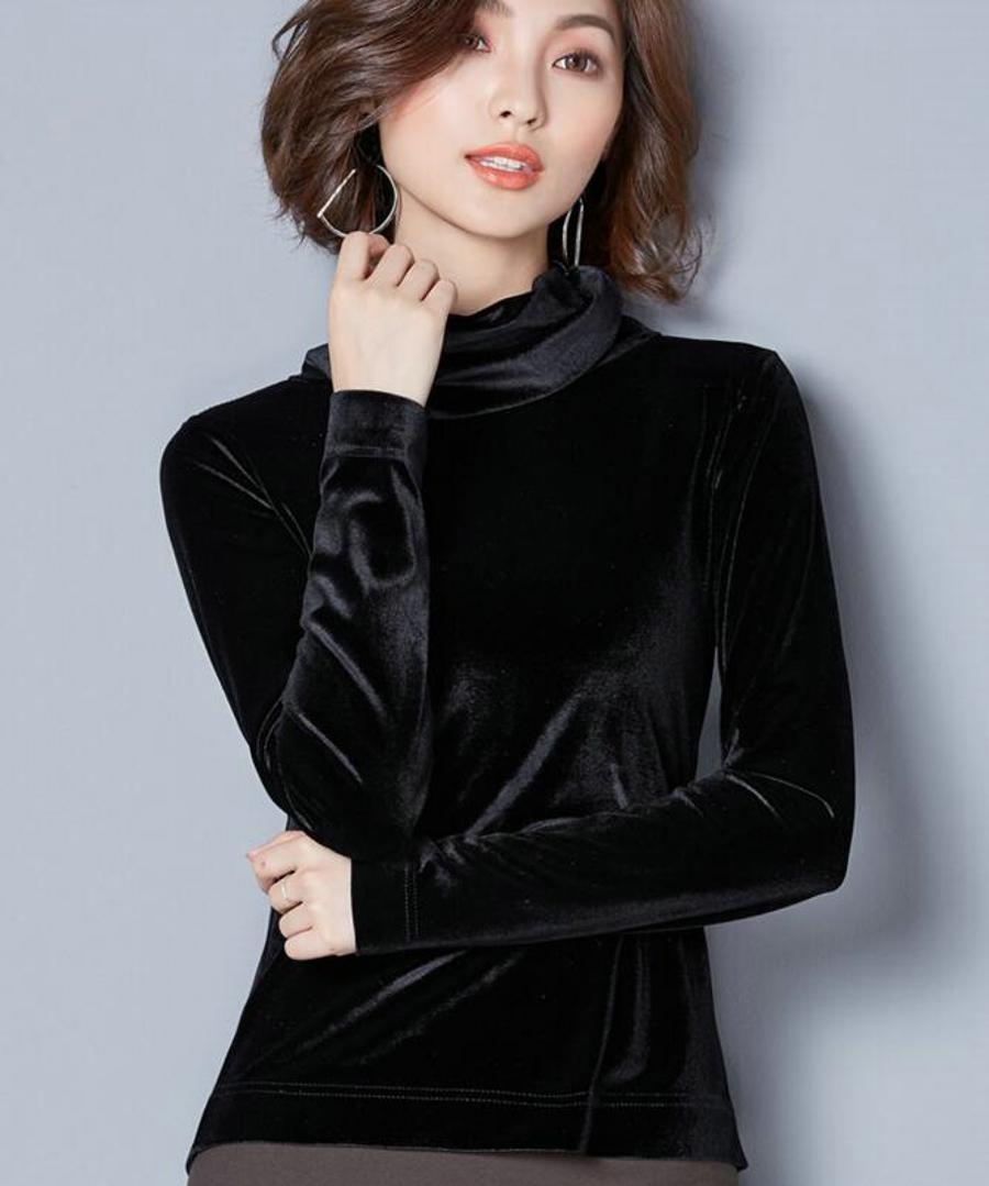 WANXIANGYUAN Women Long Sleeve Blouse 2017 Autumn Fashion Turtleneck Shirt Women Ladies Velvet Warm Blouses Shirts for Women 07