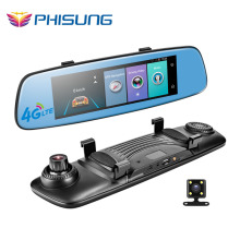 "Phisung E06 4G Car DVR 7.84"" Touch ADAS Remote Monitor Rear view mirror with DVR and camera Android Dual lens 1080P WIFI dashcam"