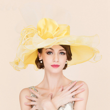 Queen Ladies Organza Summer Hat Large Wide Brim Yellow Bowknot Wedding Dress Hats For Women