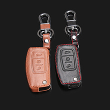 2017 Special offer 100% Leather High Quality Keychain Ring Cover Case Cover for Ford Focus 2 MK2, 3 Key Bending Buttons
