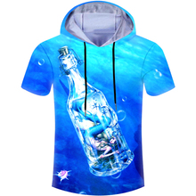 Summer Blue Casual Hoodies T-shirt Men T Shirt Anime Mermaid In Drift Bottle 3D Print Hooded Tshirt Fitness Skate Brand Clothing(Hong Kong,China)