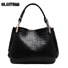 OLGITUM New 2017 Alligator Pu Leather Women Handbag Fashion Women Famous Shoulder 3 Color Bags Black Red Blue Bag Ladies F005