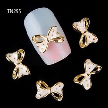 Blueness 10Pcs Golden Alloy Glitter 3d Nail Bows Art Decoration With Rhinestones Nails Charms On Nails Salon Supplies TN295