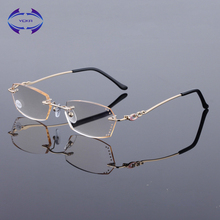 Women's High Quality Diamond Cutting Metal Rimless Glass Lenses Reading Glasses Female Eyewear 1.0 1.5 2.0 2.5 3.0(China)