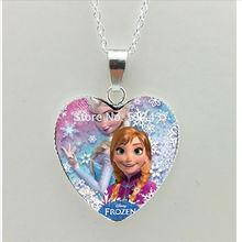 2016 New The Snow Queen Heart Necklace Elsa Heart Pendant Jewelry Heart Shaped Necklace Pendant HZ3