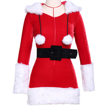 Womens Christmas Gift Festival Cosplay Hooded Costumes Red Corduroy Xmas Corsets Dress Adult Santa Claus Dresses With Black Belt(China)