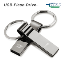 usb flash drive 64GB 32GB 16GB 8GB 4GB pen drive pendrive Waterproof Metal Silver with key ring u disk memory disk usb 2.0