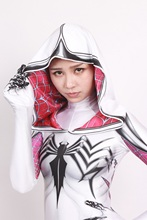 White Gwen Spiderman Costume Female Fullbody Cosplay Zentai Costume Thick Spandex Print Gwen Spider-woman Costume With Cape