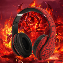 Stylish Crack Pattern Headphones Sport Gaming Headset Wireless Bluetooth 4.2 Stereo Headphone with Mic for Computer Moblie Phone