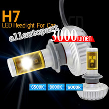 Car LED Headlight H7 40w/set CR EE Chips 3s Head Lamp Bulb with DIY 5 color For HYUNDAI BMW AUDI TOYOTA LADA
