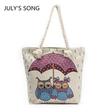 Owl Open Umbrella Print Canvas Bag Women Handbags Large Capacity Female Shoulder Bags Shopping Bag Totes Casual Beach Bags(China)
