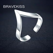BRAVEKISS V Shape 925 Silver Ring Designs For Female With Price Open Adjustable Plain Triangle Finger Rings Jewelry BLR0313(China)