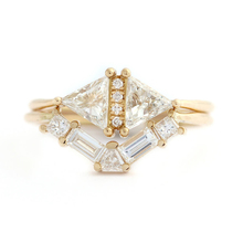 Solid 14K Yellow Gold Trillion Princess Emerald Moissanite Engagement Total 1.2ctw lab Diamond Solitaire Wedding Set for Women(China)