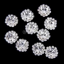 Phenovo Crystal Rhinestone Button Flatback Decoration DIY 15mm 10pcs Clear