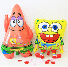 inflatable animal Red Feet Sponge Bob Shape foil balloons Spongebob Patrick Star Birthday Party Supplies Classic Air Balls(China)