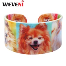 WEVENI Acrylic Design Love Wide Pomeranian Dog Bangles Bracelet Jewelry For Women 2017 New Animal Bangle Jewelry Gift For Girls(China)