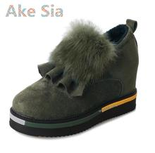 Ake Sia Increase the plush winter new Korean version of the round sets of feet with thick wild plus cashmere warm cotton shoes#6(China)