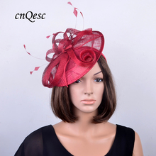 NEW DESIGN Poppy red bridal hair accessories Sinamay fascinator wedding hat w/feather for Kentucky Derby,races,church,QF120(China)