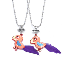 New Arrive Bff Toucan Tropical Bird Necklace Colorful Toucan With Purple Feather Tail Fashion Girls Jewelry()