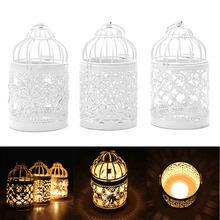 1pcs White 3 Types Metal Hollow Candle Holder Tealight Candlestick Hanging Lantern Bird Cage home decoration lanterns 8*8*14cm(China)