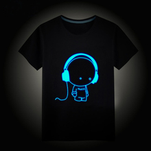 Girls Boys T-Shirts 100% Cotton Summer Children Tops Kids Hip Hop Neon Print Party Club Night Light Punk Top Tee For Teenager