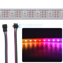 Addressable pixel LED Strip APA102-C, 5 meters, 60 LEDs/meter, White PCB, silicone sleeve IP67 APA102 strip DC 5V