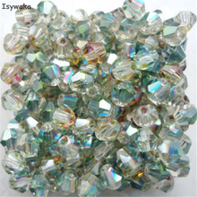 Isywaka Sale Shining green 100pcs 4mm Bicone Austria Crystal Beads charm Glass Beads Loose Spacer Bead for DIY Jewelry Making