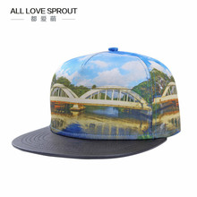 2017 spring and summer high-definition 3D thermal transfer   digital men  baseball hat PU leather stitching  ALL-03