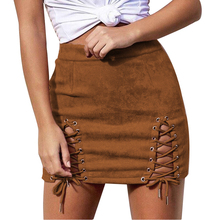 Buy Sexy High Waist Lace-up Suede Pack Hip Short Skirts 2017 New Fashion Casual Pencil Skirts Solid Color Banded Ladies Mini Skirts for $9.51 in AliExpress store