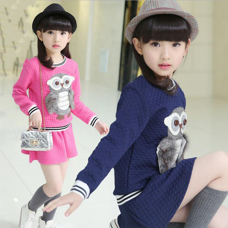 3-11Y girls clothes 2016 new Spring Autumn girls skirt suits 2pcs owl animal style long sleeve T-shirt+mini skirt kids sets<br>
