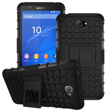 Heavy Duty Armor Kickstand Hybrid Hard Composite TPU ShockProof Case For Sony Xperia Experia E4 E2104 E2105 E2115 Cover