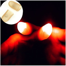 2pcs Novelty LED Light Flashing Fingers Magic Trick Props Kids Amazing Fantastic Glow Halloween Gift Decoration