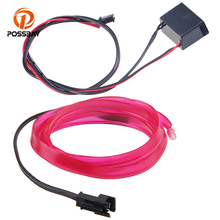 POSSBAY Ice Blue/Red/Orange/Purpl Neon LED Lights Glowing EL Wire LED Strip Tube Flexible Car Parties Bar Decoration Light(China)